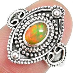 1.45cts natural ethiopian opal 925 sterling silver solitaire ring size 7 r59150