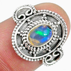 1.57cts natural ethiopian opal 925 sterling silver solitaire ring size 7 r59167