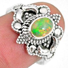 1.54cts natural ethiopian opal 925 sterling silver solitaire ring size 7 r59171