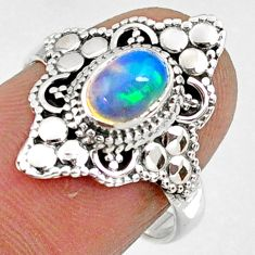 1.74cts natural ethiopian opal 925 sterling silver solitaire ring size 7 r61158