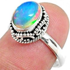 2.92cts natural ethiopian opal 925 sterling silver solitaire ring size 7 r64481