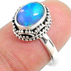 2.92cts natural ethiopian opal 925 sterling silver solitaire ring size 7 r64497