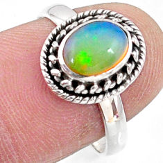 2.27cts natural ethiopian opal 925 sterling silver solitaire ring size 7 r64547