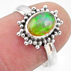 2.30cts natural ethiopian opal 925 sterling silver solitaire ring size 7 r64574