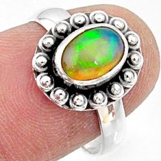 2.26cts natural ethiopian opal 925 sterling silver solitaire ring size 7 r64580
