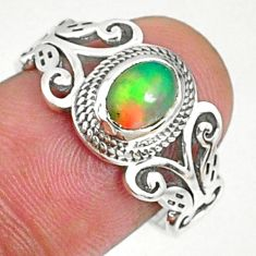 1.57cts natural ethiopian opal 925 sterling silver solitaire ring size 7 r68592