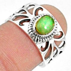 1.56cts natural ethiopian opal 925 sterling silver solitaire ring size 7 r68811