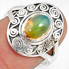 1.92cts natural ethiopian opal 925 sterling silver solitaire ring size 7 r68892