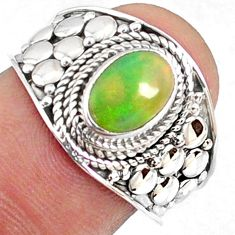 2.17cts natural ethiopian opal 925 sterling silver solitaire ring size 7 r69018