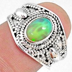 2.29cts natural ethiopian opal 925 sterling silver solitaire ring size 7 r69030