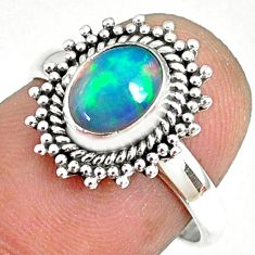 2.11cts natural ethiopian opal 925 sterling silver solitaire ring size 7 r75282