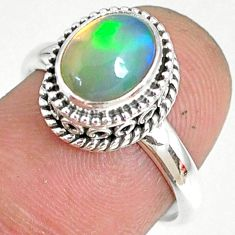 2.02cts natural ethiopian opal 925 sterling silver solitaire ring size 7 r75350