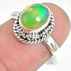 2.97cts natural ethiopian opal 925 sterling silver solitaire ring size 7 r75371
