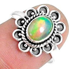 1.94cts natural ethiopian opal 925 sterling silver solitaire ring size 7 r75387