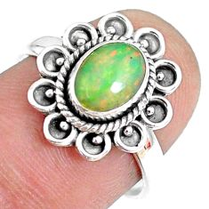 2.05cts natural ethiopian opal 925 sterling silver solitaire ring size 7 r75389