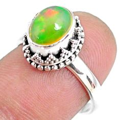 2.97cts natural ethiopian opal 925 sterling silver solitaire ring size 7 r75411