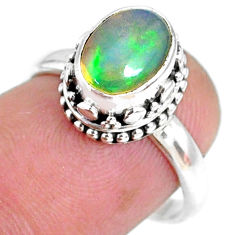 2.72cts natural ethiopian opal 925 sterling silver solitaire ring size 7 r75423