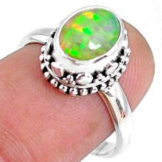 2.72cts natural ethiopian opal 925 sterling silver solitaire ring size 7 r75440