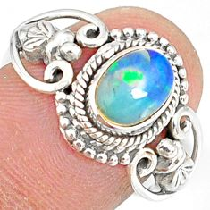 2.02cts natural ethiopian opal 925 sterling silver solitaire ring size 7 r82325