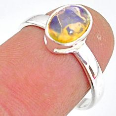 2.03cts natural ethiopian opal 925 sterling silver solitaire ring size 7 r83725