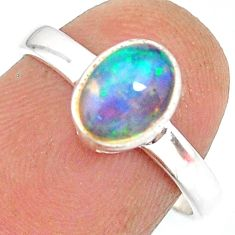 2.23cts natural ethiopian opal 925 sterling silver solitaire ring size 7 r83726