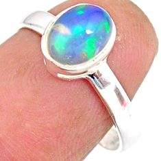 2.01cts natural ethiopian opal 925 sterling silver solitaire ring size 7 r83730