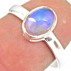 2.02cts natural ethiopian opal 925 sterling silver solitaire ring size 7 r83734
