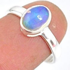 1.82cts natural ethiopian opal 925 sterling silver solitaire ring size 7 r83735