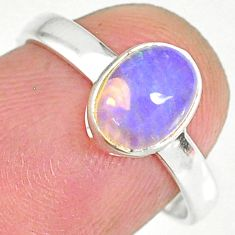 2.05cts natural ethiopian opal 925 sterling silver solitaire ring size 7 r83966