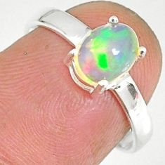 2.07cts natural ethiopian opal 925 sterling silver solitaire ring size 7 r83985