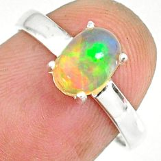 2.08cts natural ethiopian opal 925 sterling silver solitaire ring size 7 r83986