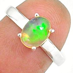 2.08cts natural ethiopian opal 925 sterling silver solitaire ring size 7 r84017