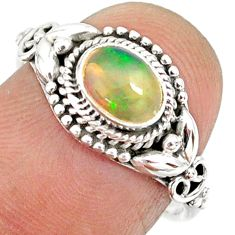 1.48cts natural ethiopian opal 925 sterling silver solitaire ring size 7 r85453