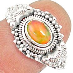 1.47cts natural ethiopian opal 925 sterling silver solitaire ring size 7 r85486