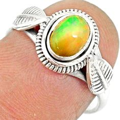 1.51cts natural ethiopian opal 925 sterling silver solitaire ring size 7 r85489