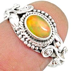 1.47cts natural ethiopian opal 925 sterling silver solitaire ring size 7 r85496