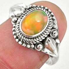 2.12cts natural ethiopian opal 925 sterling silver solitaire ring size 7 t2832