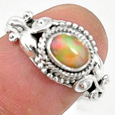 1.39cts natural ethiopian opal 925 sterling silver solitaire ring size 7 t4034