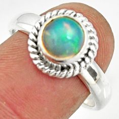 2.34cts natural ethiopian opal 925 sterling silver solitaire ring size 8 r26267