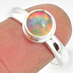 2.34cts natural ethiopian opal 925 sterling silver solitaire ring size 8 r26274