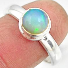 2.23cts natural ethiopian opal 925 sterling silver solitaire ring size 8 r26278