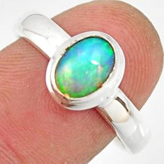 2.24cts natural ethiopian opal 925 sterling silver solitaire ring size 8 r26295