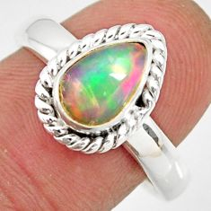 2.35cts natural ethiopian opal 925 sterling silver solitaire ring size 8 r26296