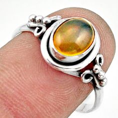 2.38cts natural ethiopian opal 925 sterling silver solitaire ring size 8 r41374