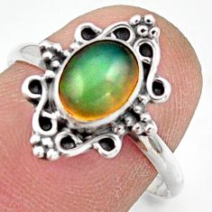 2.28cts natural ethiopian opal 925 sterling silver solitaire ring size 8 r41490