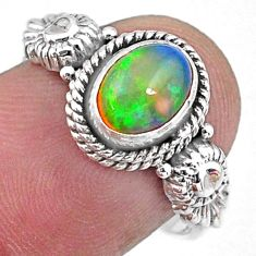 2.31cts natural ethiopian opal 925 sterling silver solitaire ring size 8 r57481