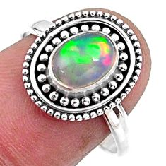 1.96cts natural ethiopian opal 925 sterling silver solitaire ring size 8 r57482