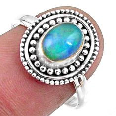 1.96cts natural ethiopian opal 925 sterling silver solitaire ring size 8 r57483