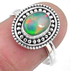 1.96cts natural ethiopian opal 925 sterling silver solitaire ring size 8 r57492