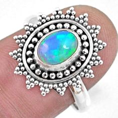 2.09cts natural ethiopian opal 925 sterling silver solitaire ring size 8 r57497